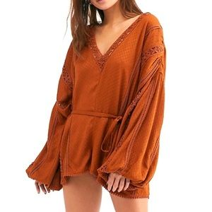 Free People I Meant It Rober Crochet Romper Brown